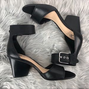 Vince Camuto Black Leather Ankle Strap Heels